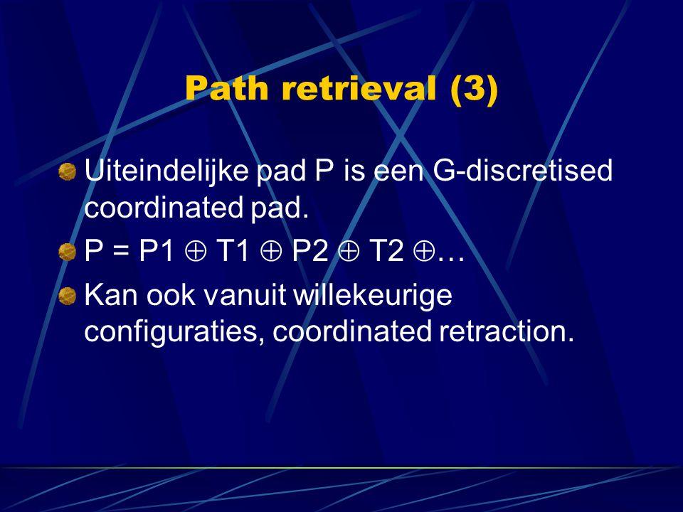 Path retrieval (3) Uiteindelijke pad P is een G-discretised coordinated pad. P = P1  T1  P2  T2  … Kan ook vanuit willekeurige configuraties, coor