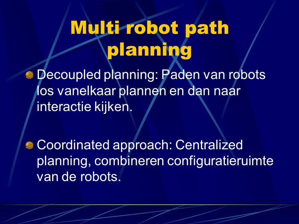 Multi robot path planning Decoupled planning: Paden van robots los vanelkaar plannen en dan naar interactie kijken. Coordinated approach: Centralized