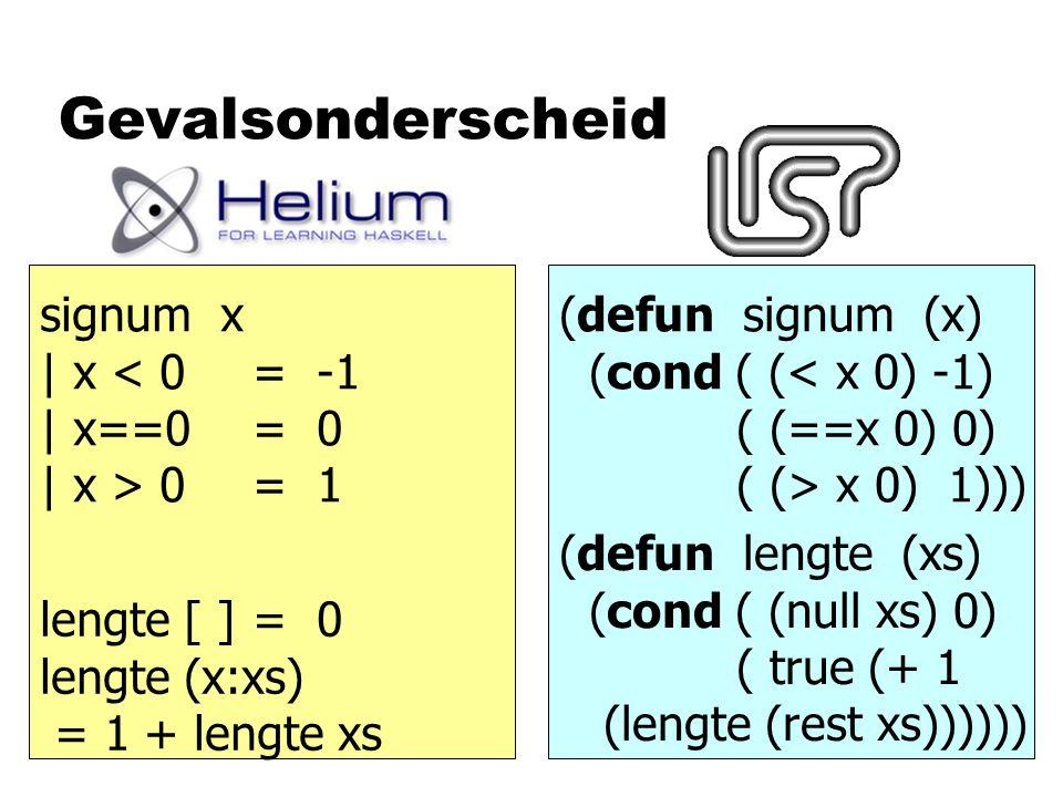 Gevalsonderscheid signum x | x < 0 = -1 | x==0= 0 | x > 0= 1 (defun signum (x) (cond ( (< x 0) -1) ( (==x 0) 0) ( (> x 0) 1))) lengte [ ] = 0 lengte (
