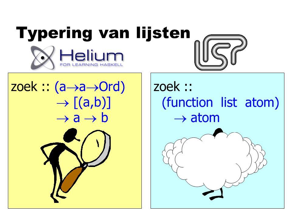 Typering van lijsten zoek :: (a  a  Ord)  [(a,b)]  a  b zoek :: (function list atom)  atom