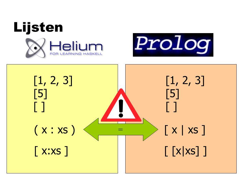 Lijsten [1, 2, 3] [5] [ ] [1, 2, 3] [5] [ ] ( x : xs )[ x | xs ] [ x:xs ][ [x|xs] ] =