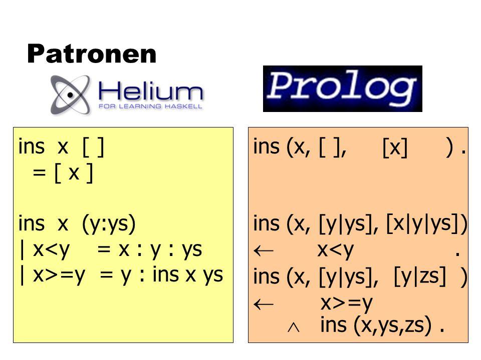 Patronen ins (x, [ ], ). ins (x, [y|ys], ) . [x] ins x [ ] = [ x ] ins x (y:ys) | x<y = x : y : ys | x>=y = y : ins x ys x<y [x|y|ys] ins (x, [y|ys],