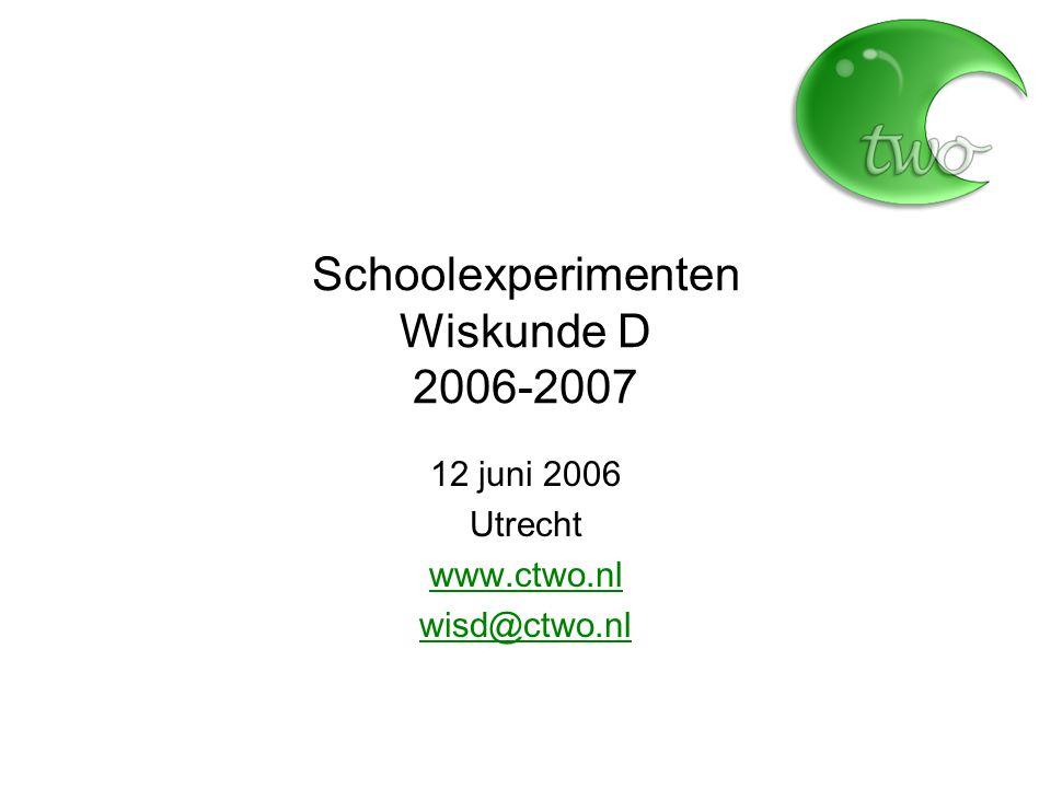 Schoolexperimenten Wiskunde D 2006-2007 12 juni 2006 Utrecht www.ctwo.nl wisd@ctwo.nl