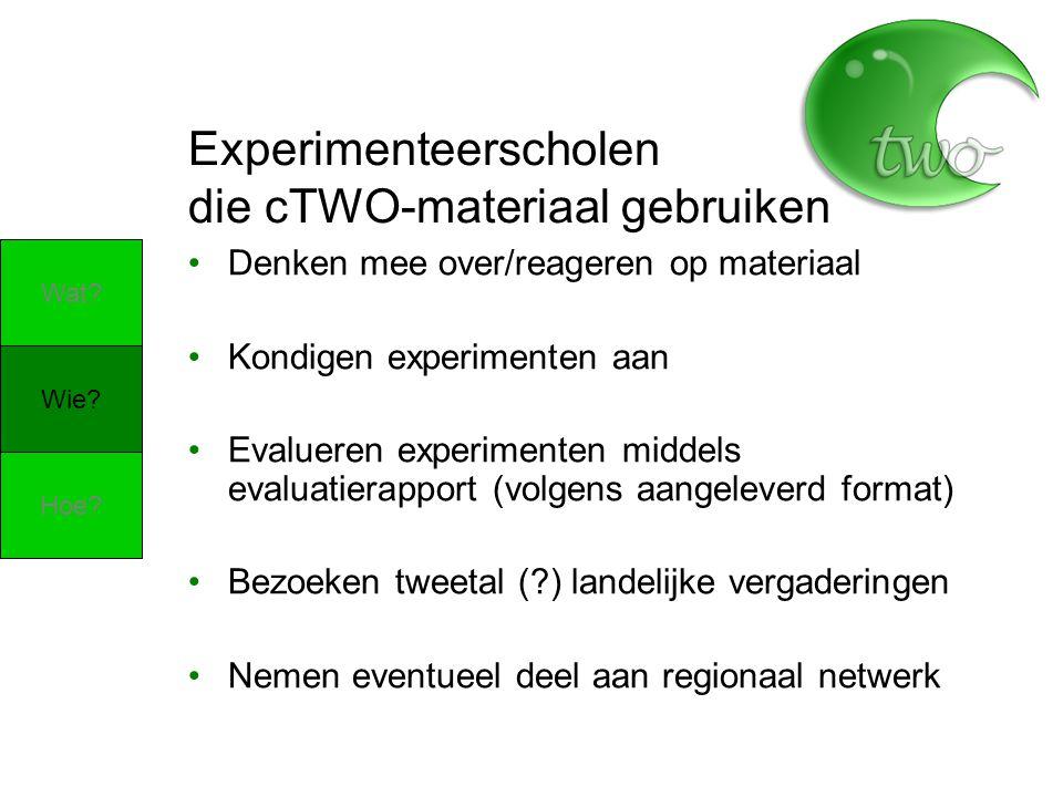Experimenteerscholen die cTWO-materiaal gebruiken Denken mee over/reageren op materiaal Kondigen experimenten aan Evalueren experimenten middels evalu
