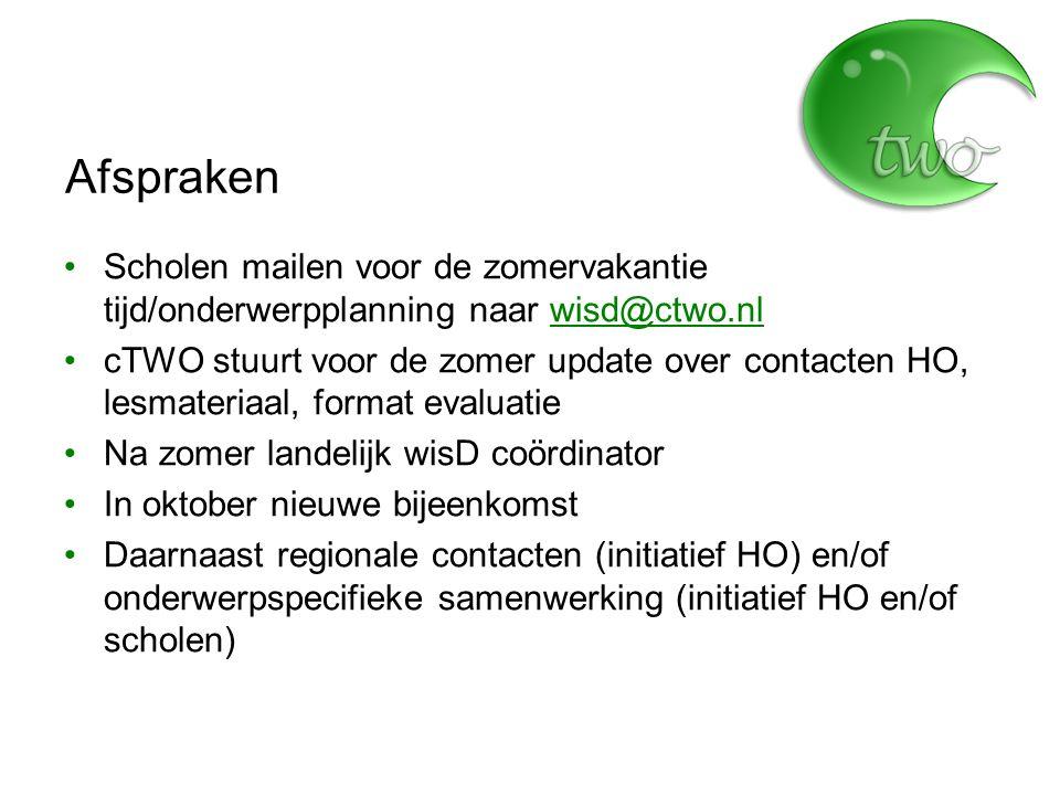 Afspraken Scholen mailen voor de zomervakantie tijd/onderwerpplanning naar wisd@ctwo.nlwisd@ctwo.nl cTWO stuurt voor de zomer update over contacten HO