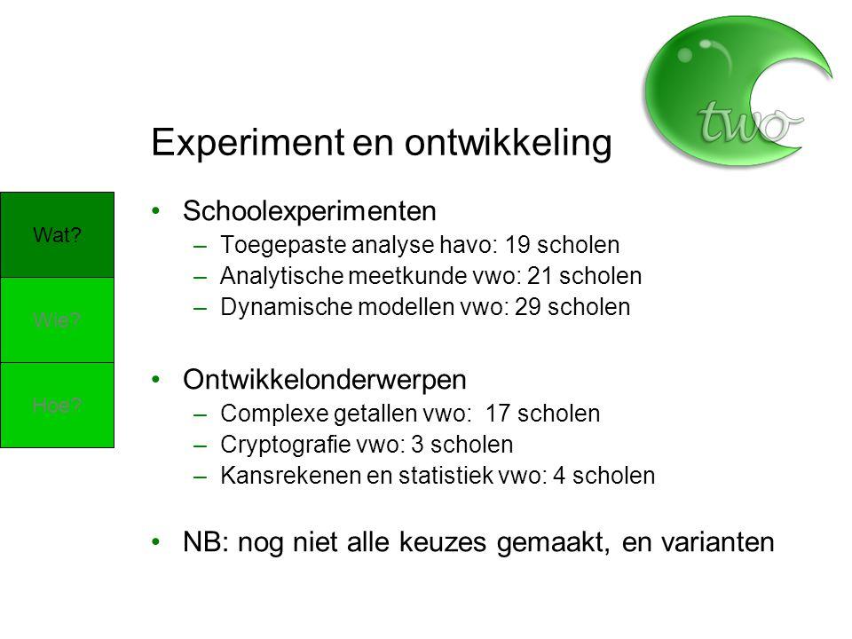 Experiment en ontwikkeling Schoolexperimenten –Toegepaste analyse havo: 19 scholen –Analytische meetkunde vwo: 21 scholen –Dynamische modellen vwo: 29