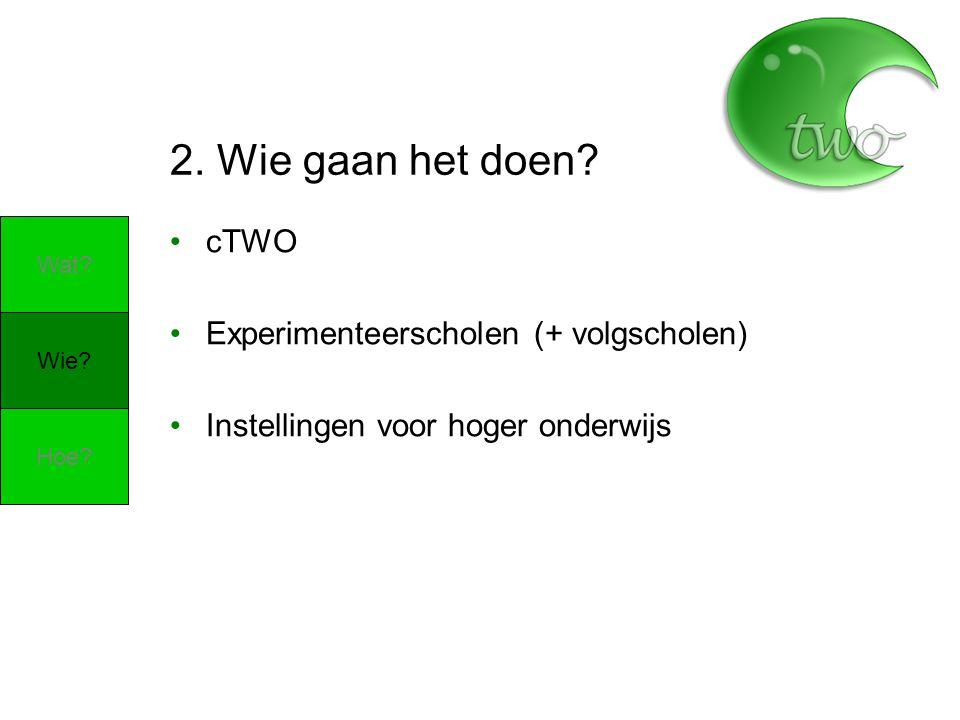 2. Wie gaan het doen? cTWO Experimenteerscholen (+ volgscholen) Instellingen voor hoger onderwijs Wie? Wat? Hoe?