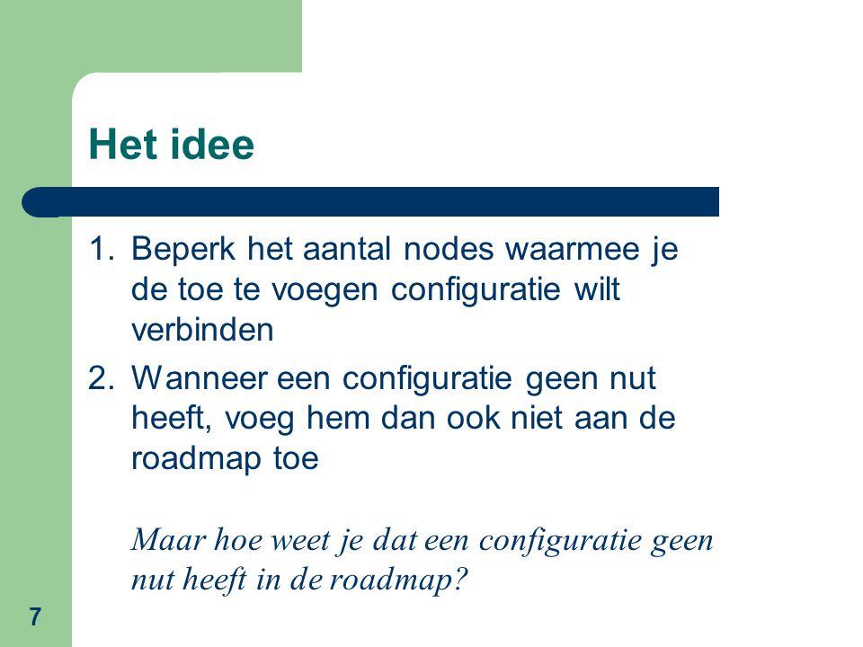 7 Het idee 1.Beperk het aantal nodes waarmee je de toe te voegen configuratie wilt verbinden 2.Wanneer een configuratie geen nut heeft, voeg hem dan ook niet aan de roadmap toe Maar hoe weet je dat een configuratie geen nut heeft in de roadmap?