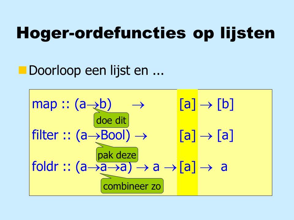 Currying nType nAanroep f :: Int  Bool  String > f 7 True hoi f 7 Bool  String  rechts-associatief links-associatief zonder haakjes!