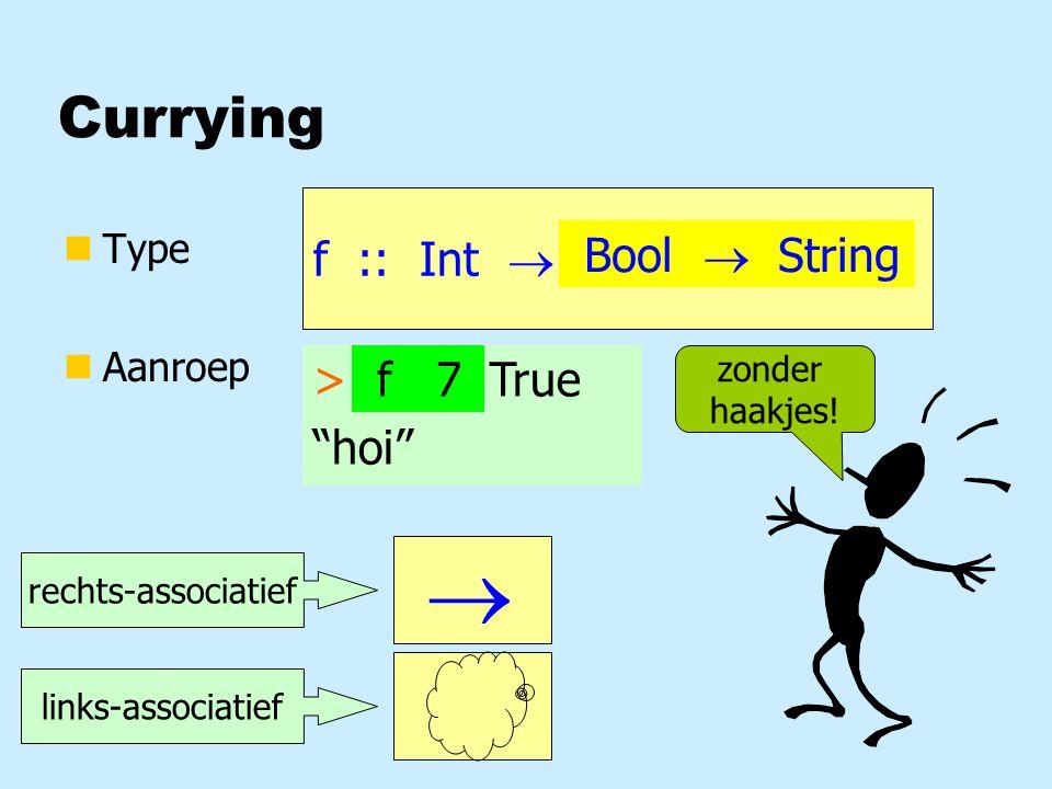 Lijsten vergelijken > eqList (==) [1,2,3] [1,2,3] True > eqList (eqBool) [True,False] [True] False > eqList (eqList (==)) [[1,2], [3,4]] [[1,2], [4,3]] False