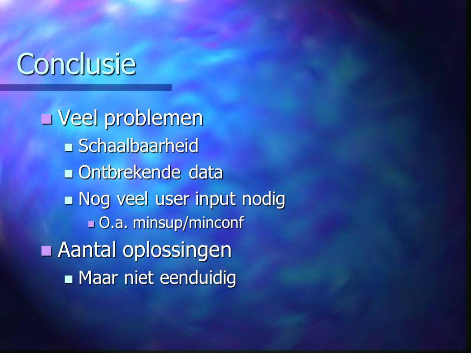 Conclusie Veel problemen Veel problemen Schaalbaarheid Schaalbaarheid Ontbrekende data Ontbrekende data Nog veel user input nodig Nog veel user input nodig O.a.