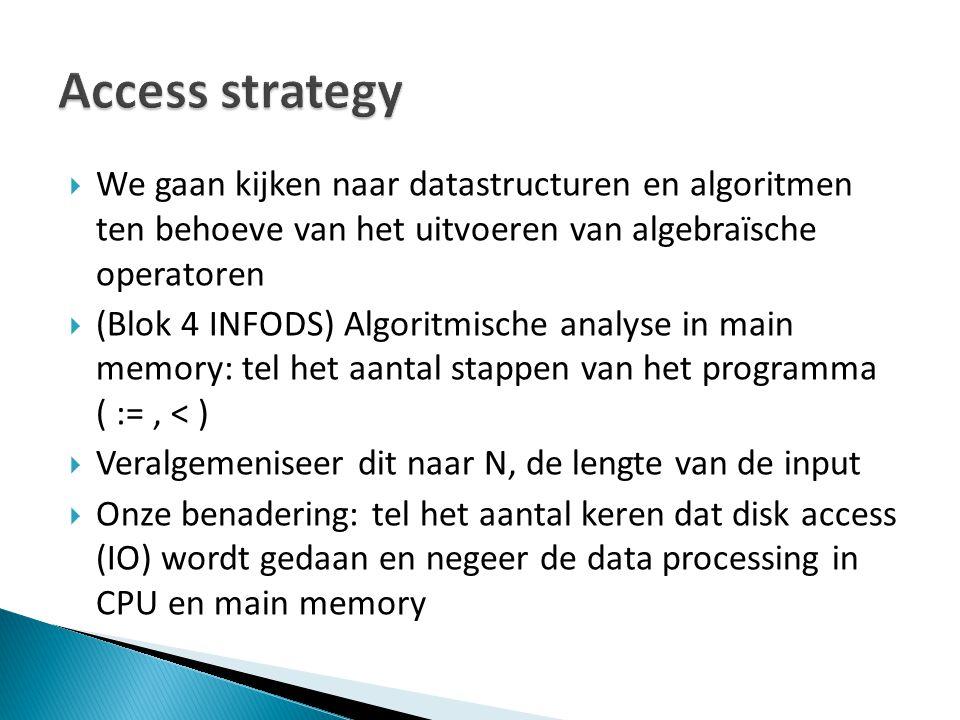  We gaan kijken naar datastructuren en algoritmen ten behoeve van het uitvoeren van algebraïsche operatoren  (Blok 4 INFODS) Algoritmische analyse i