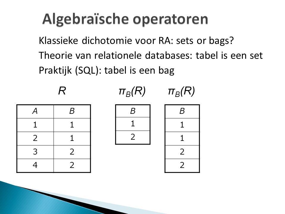 Algebraïsche operatoren Klassieke dichotomie voor RA: sets or bags? Theorie van relationele databases: tabel is een set Praktijk (SQL): tabel is een b