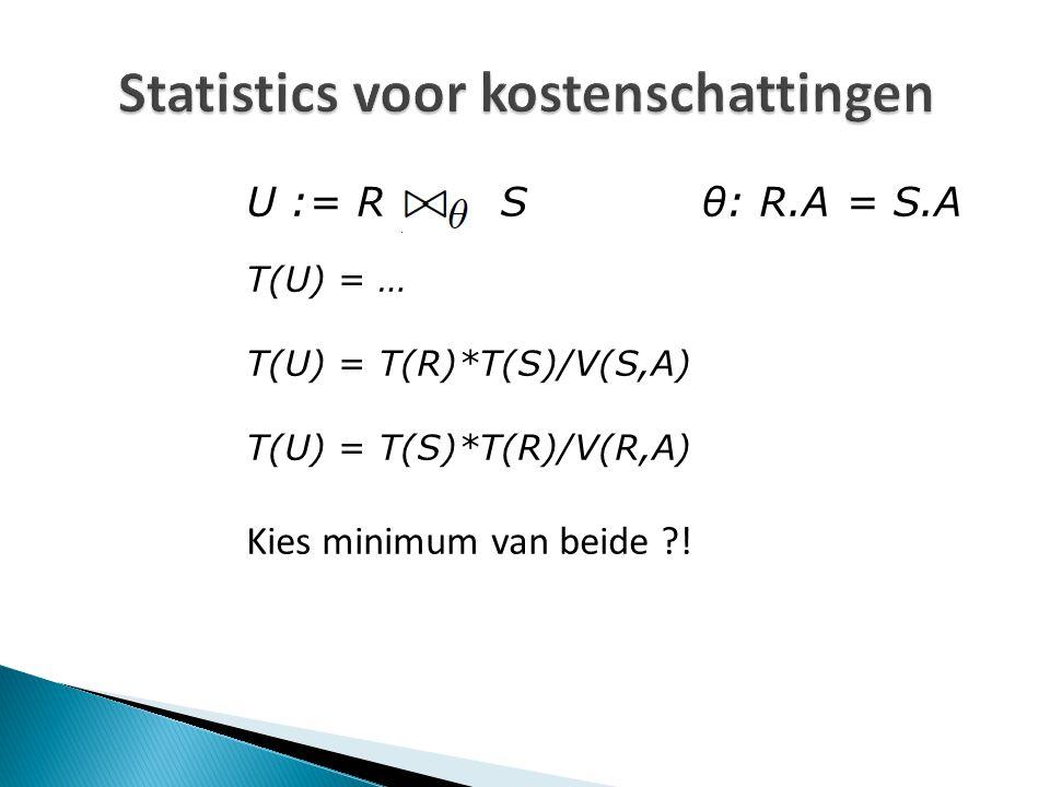 Statistics voor kostenschattingen U := R S θ: R.A = S.A T(U) = … T(U) = T(R)*T(S)/V(S,A) T(U) = T(S)*T(R)/V(R,A) Kies minimum van beide !