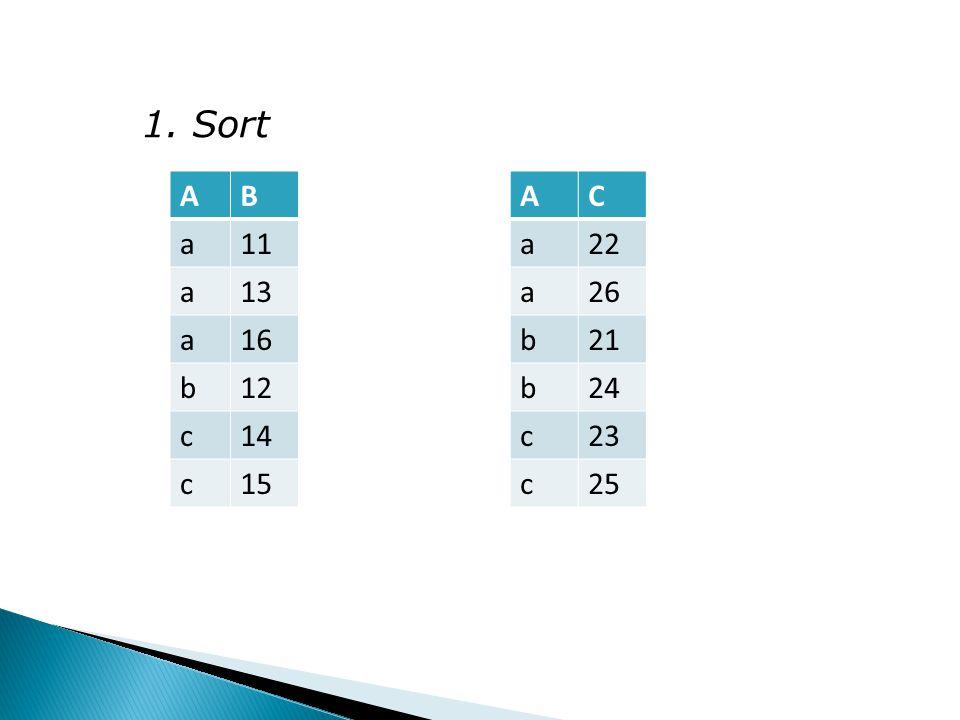 1. Sort AB a11 a13 a16 b12 c14 c15 AC a22 a26 b21 b24 c23 c25