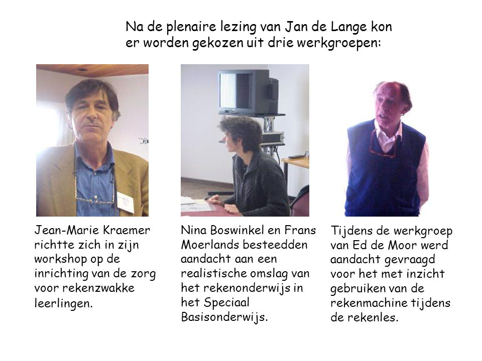Na de plenaire lezing van Jan de Lange kon er worden gekozen uit drie werkgroepen: Jean-Marie Kraemer richtte zich in zijn workshop op de inrichting van de zorg voor rekenzwakke leerlingen.