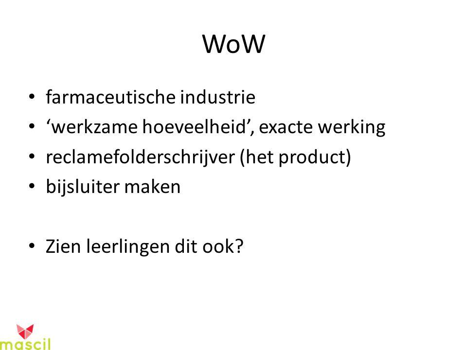 WoW farmaceutische industrie 'werkzame hoeveelheid', exacte werking reclamefolderschrijver (het product) bijsluiter maken Zien leerlingen dit ook