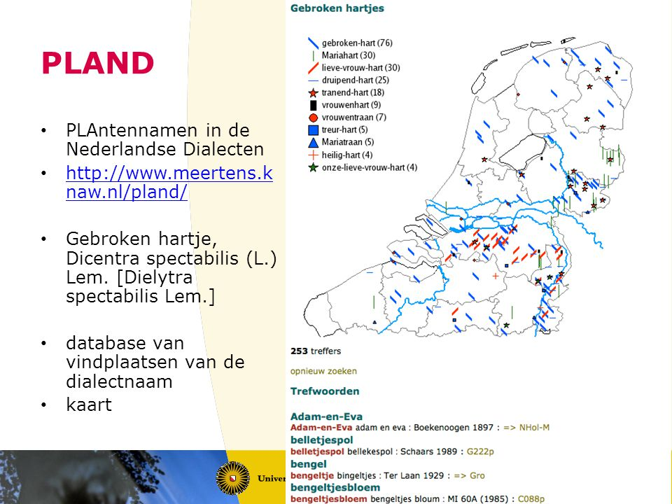 PLAND PLAntennamen in de Nederlandse Dialecten http://www.meertens.k naw.nl/pland/ http://www.meertens.k naw.nl/pland/ Gebroken hartje, Dicentra spectabilis (L.) Lem.