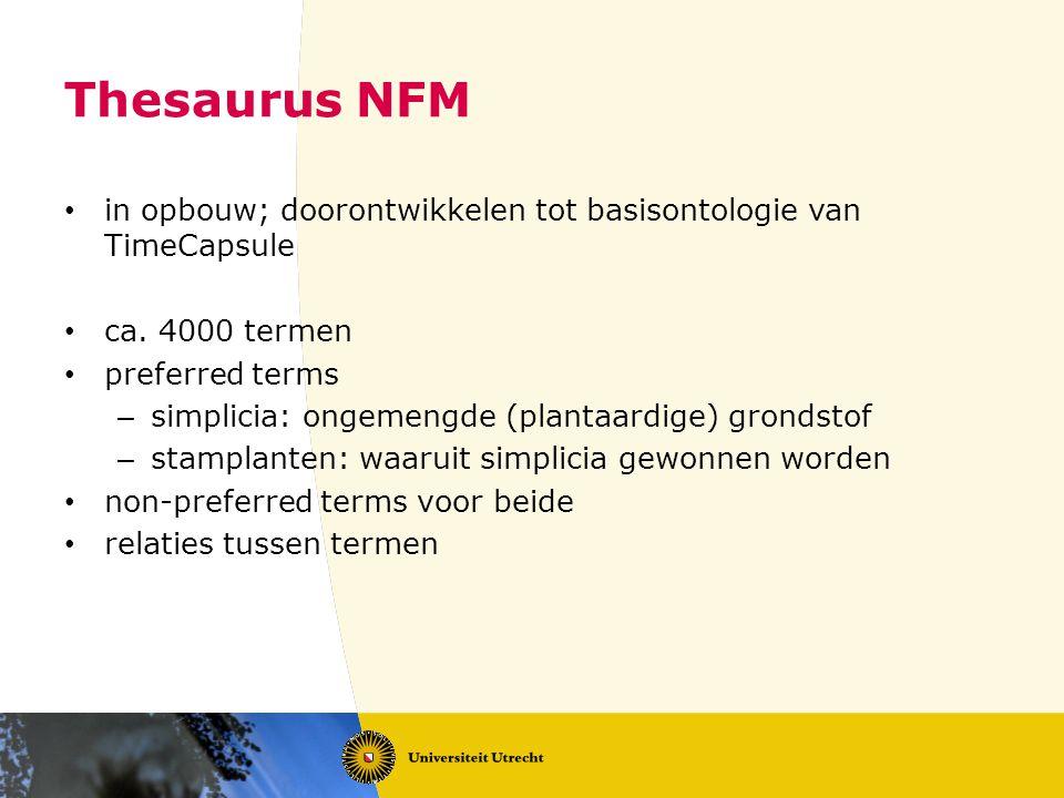 Thesaurus NFM in opbouw; doorontwikkelen tot basisontologie van TimeCapsule ca.