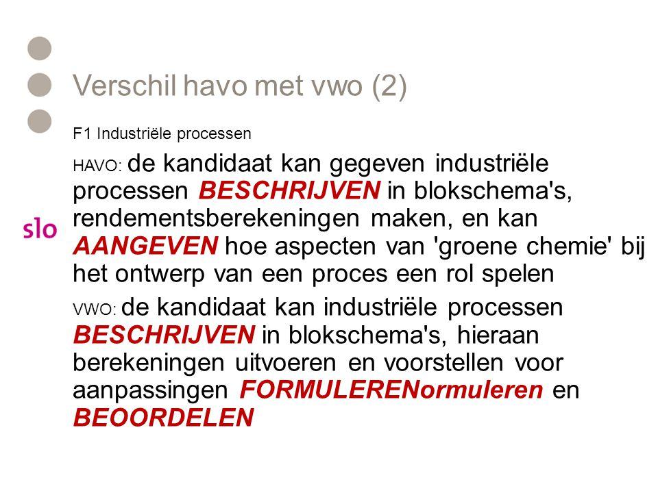 Verschil havo met vwo (2) F1 Industriële processen HAVO: de kandidaat kan gegeven industriële processen BESCHRIJVEN in blokschema's, rendementsbereken
