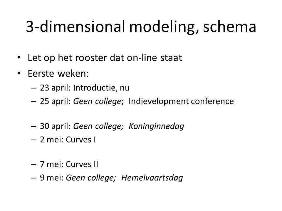 3-dimensional modeling, schema Let op het rooster dat on-line staat Eerste weken: – 23 april: Introductie, nu – 25 april: Geen college; Indievelopment