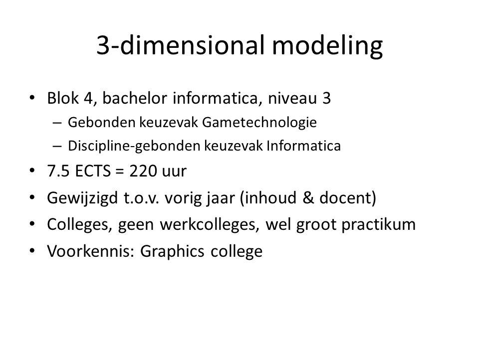 3-dimensional modeling Blok 4, bachelor informatica, niveau 3 – Gebonden keuzevak Gametechnologie – Discipline-gebonden keuzevak Informatica 7.5 ECTS