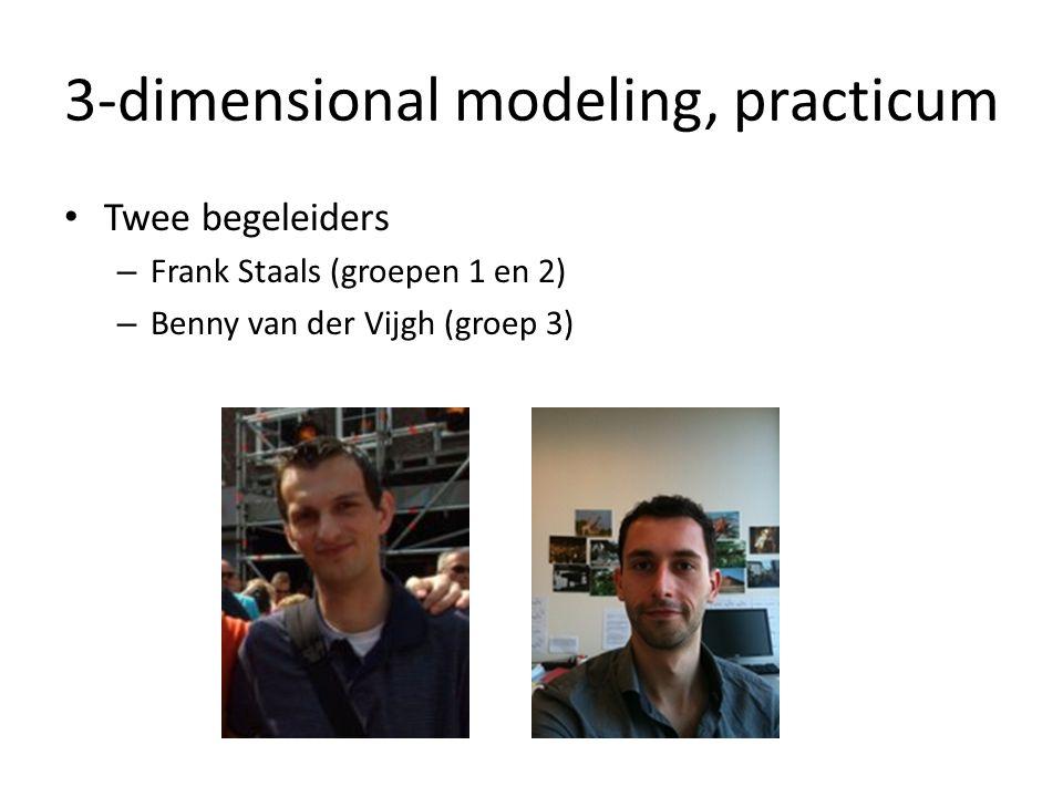 3-dimensional modeling, practicum Twee begeleiders – Frank Staals (groepen 1 en 2) – Benny van der Vijgh (groep 3)