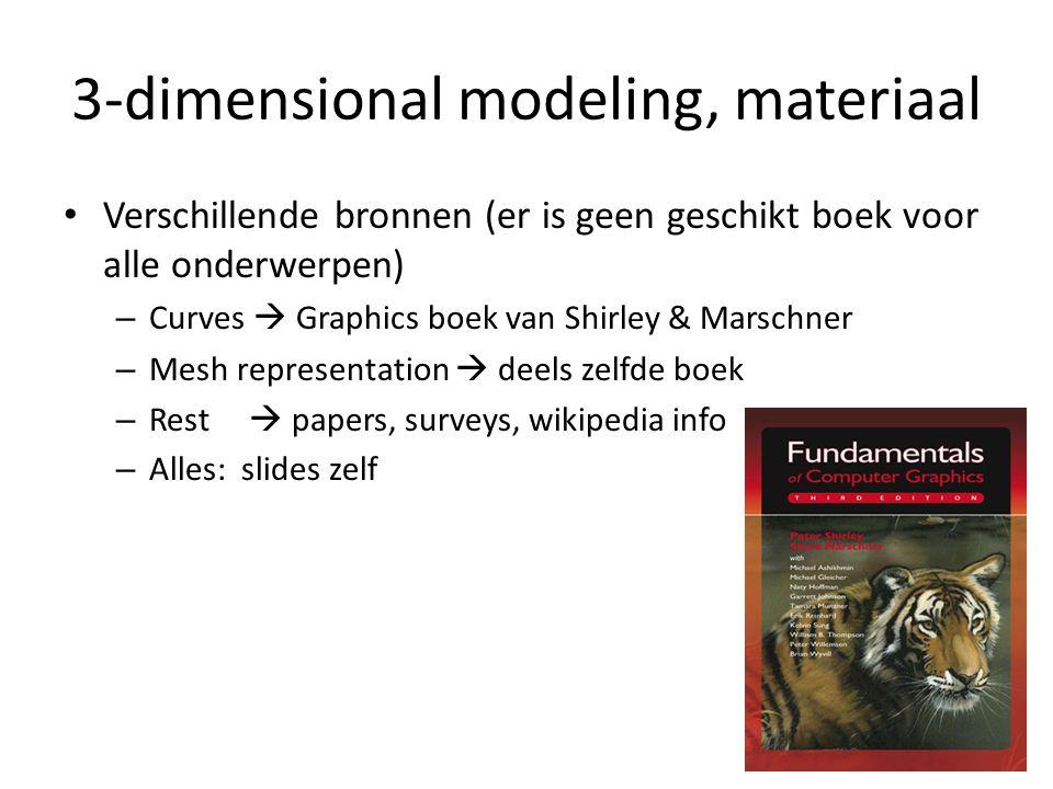 3-dimensional modeling, materiaal Verschillende bronnen (er is geen geschikt boek voor alle onderwerpen) – Curves  Graphics boek van Shirley & Marsch
