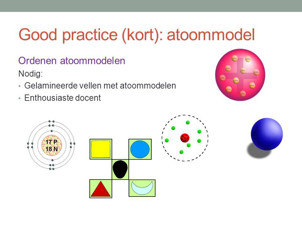 Good practice (kort): atoommodel Ordenen atoommodelen Nodig: Gelamineerde vellen met atoommodelen Enthousiaste docent