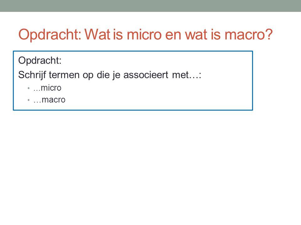 Opdracht: Wat is micro en wat is macro.