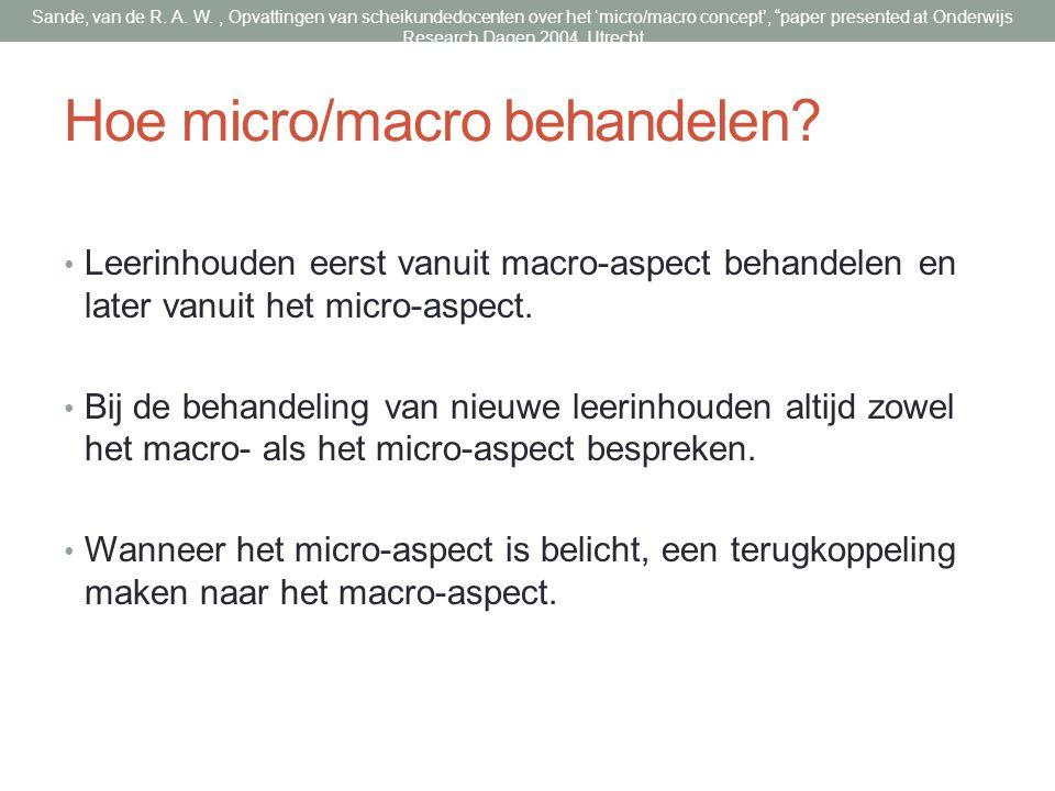 Hoe micro/macro behandelen.