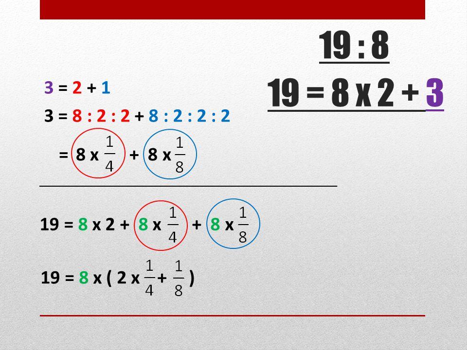 19 = 8 x 2 + 3 3 = 2 + 1 3 = 8 : 2 : 2 + 8 : 2 : 2 : 2 19 = 8 x 2 + 8 x + 8 x 19 = 8 x ( 2 x + ) 19 : 8 = 8 x + 8 x