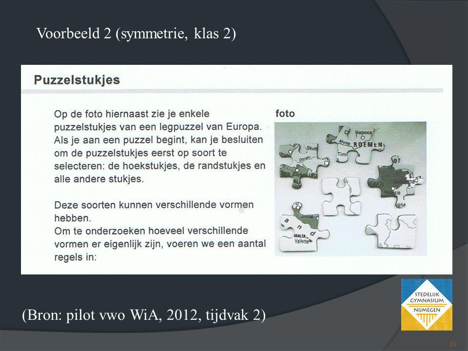 (Bron: pilot vwo WiA, 2012, tijdvak 2) Voorbeeld 2 (symmetrie, klas 2) 10