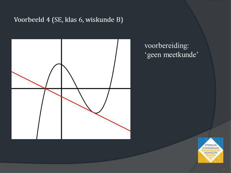 Voorbeeld 4 (SE, klas 6, wiskunde B) voorbereiding: 'geen meetkunde' 15