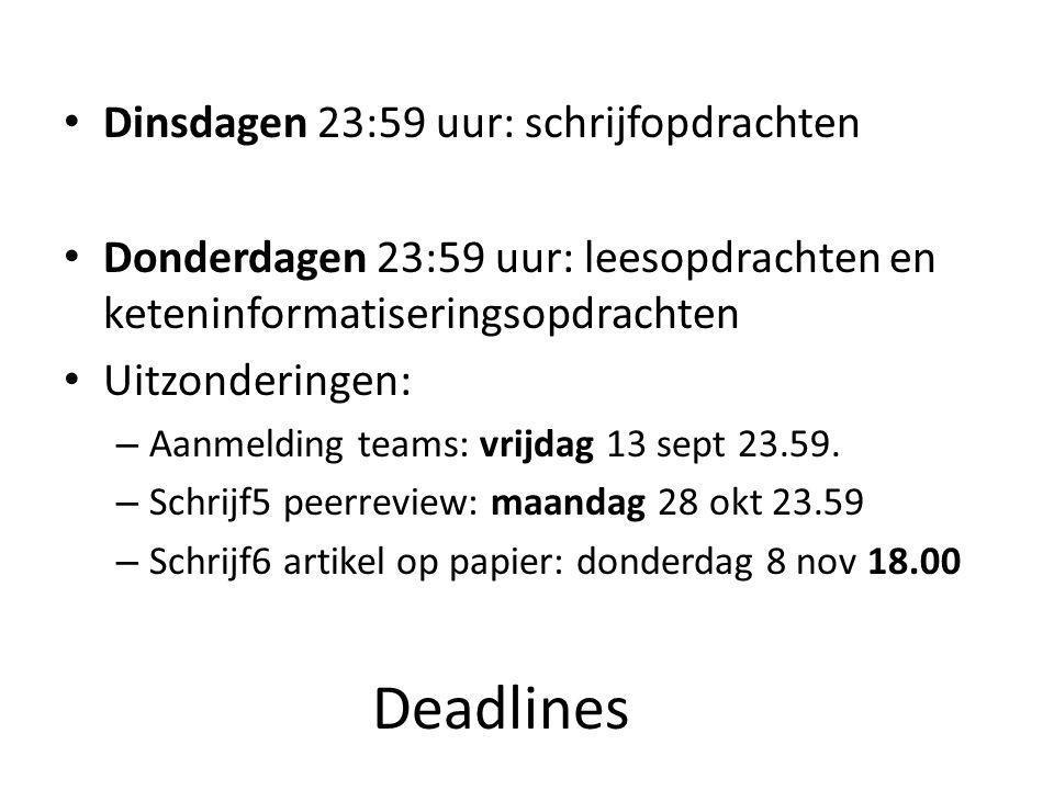 Deadlines Dinsdagen 23:59 uur: schrijfopdrachten Donderdagen 23:59 uur: leesopdrachten en keteninformatiseringsopdrachten Uitzonderingen: – Aanmelding teams: vrijdag 13 sept 23.59.