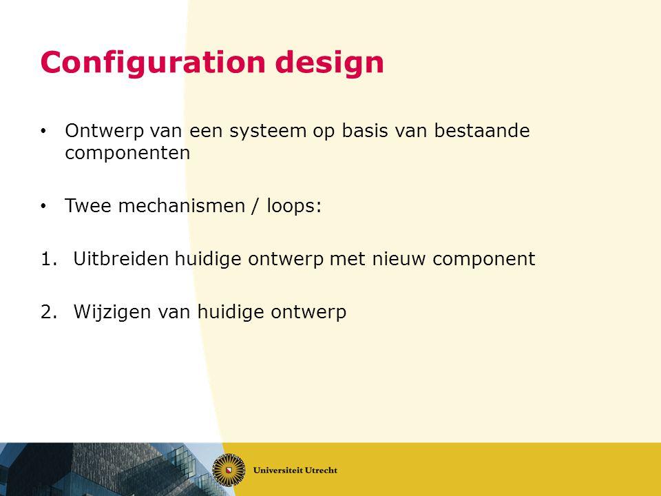 Configuration design Ontwerp van een systeem op basis van bestaande componenten Twee mechanismen / loops: 1.Uitbreiden huidige ontwerp met nieuw component 2.Wijzigen van huidige ontwerp