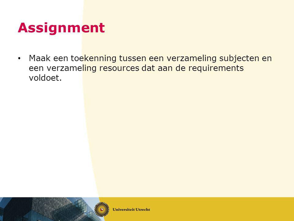Assignment Maak een toekenning tussen een verzameling subjecten en een verzameling resources dat aan de requirements voldoet.