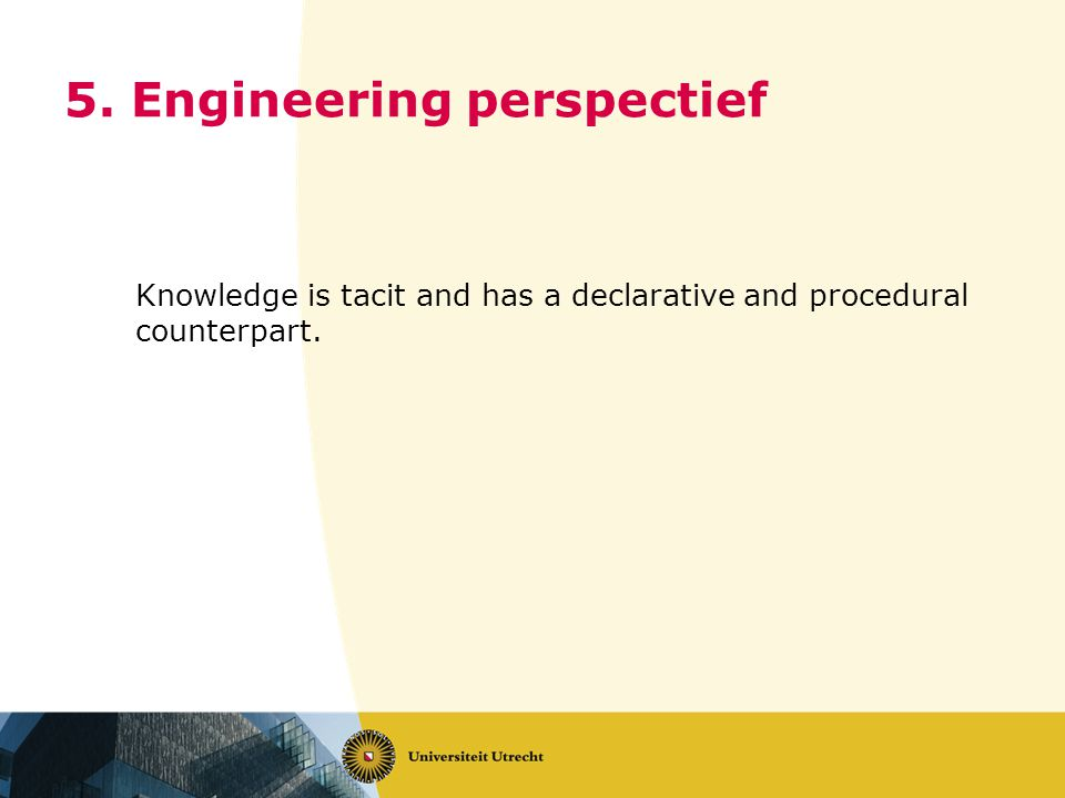 5. Engineering perspectief Knowledge is tacit and has a declarative and procedural counterpart.