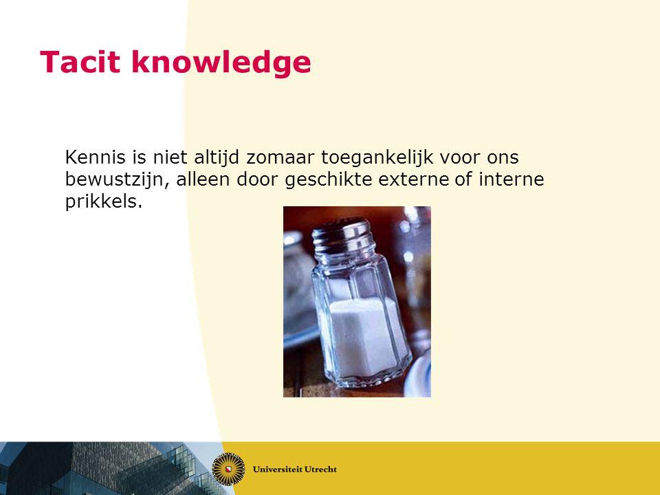 Tacit knowledge Kennis is niet altijd zomaar toegankelijk voor ons bewustzijn, alleen door geschikte externe of interne prikkels.