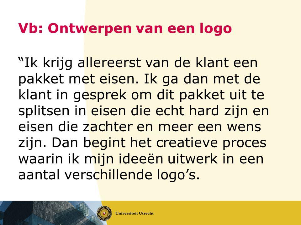 Vb: Ontwerpen van een logo Ik krijg allereerst van de klant een pakket met eisen.