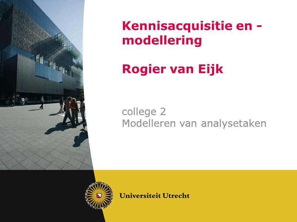 Kennisacquisitie en - modellering Rogier van Eijk college 2 Modelleren van analysetaken