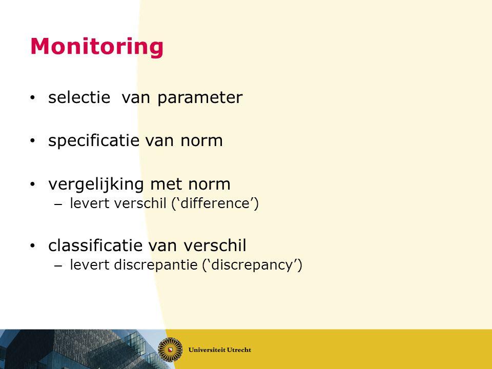 selectie van parameter specificatie van norm vergelijking met norm – levert verschil ('difference') classificatie van verschil – levert discrepantie ('discrepancy')