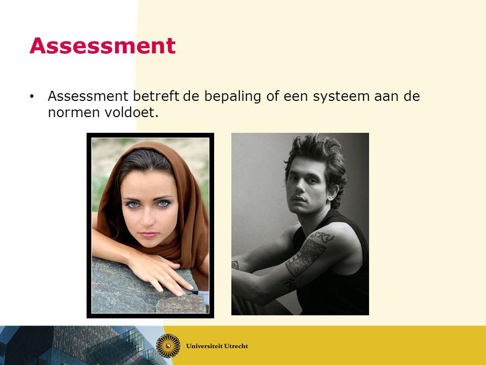 Assessment Assessment betreft de bepaling of een systeem aan de normen voldoet.