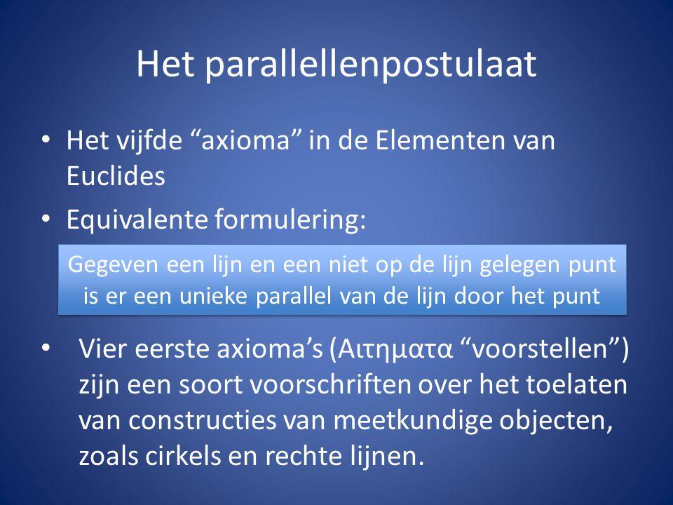 """Het parallellenpostulaat Het vijfde """"axioma"""" in de Elementen van Euclides Equivalente formulering: Vier eerste axioma's (Aιτηματα """"voorstellen"""") zijn"""