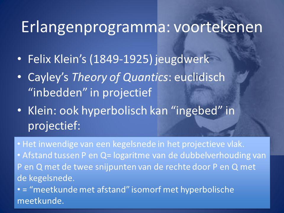 """Erlangenprogramma: voortekenen Felix Klein's (1849-1925) jeugdwerk Cayley's Theory of Quantics: euclidisch """"inbedden"""" in projectief Klein: ook hyperbo"""