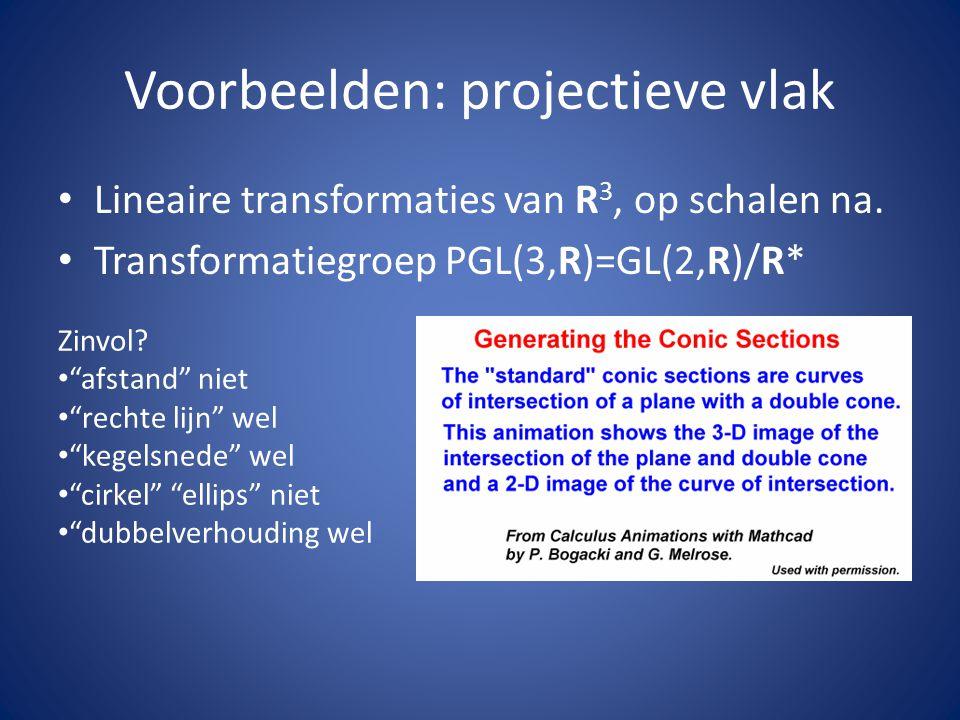 """Voorbeelden: projectieve vlak Lineaire transformaties van R 3, op schalen na. Transformatiegroep PGL(3,R)=GL(2,R)/R* Zinvol? """"afstand"""" niet """"rechte li"""