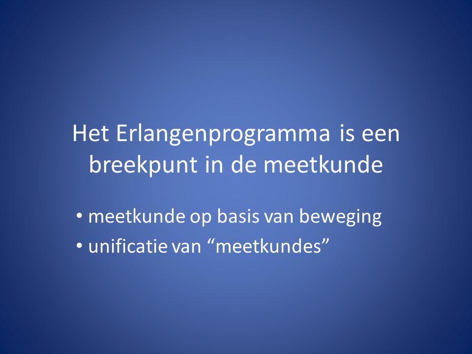 """Het Erlangenprogramma is een breekpunt in de meetkunde meetkunde op basis van beweging unificatie van """"meetkundes"""""""