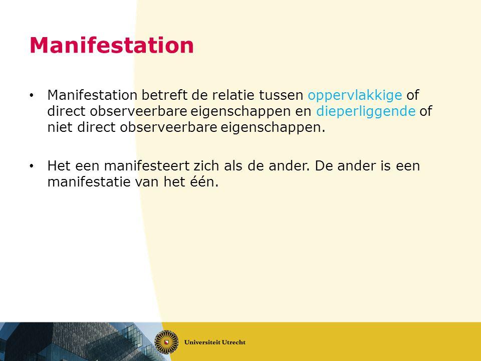 Manifestation Manifestation betreft de relatie tussen oppervlakkige of direct observeerbare eigenschappen en dieperliggende of niet direct observeerbare eigenschappen.