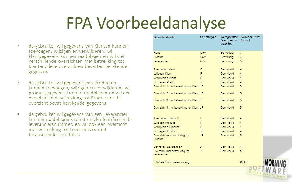 FPA Voorbeeldanalyse de gebruiker wil gegevens van Klanten kunnen toevoegen, wijzigen en verwijderen, wil klantgegevens kunnen raadplegen en wil vier