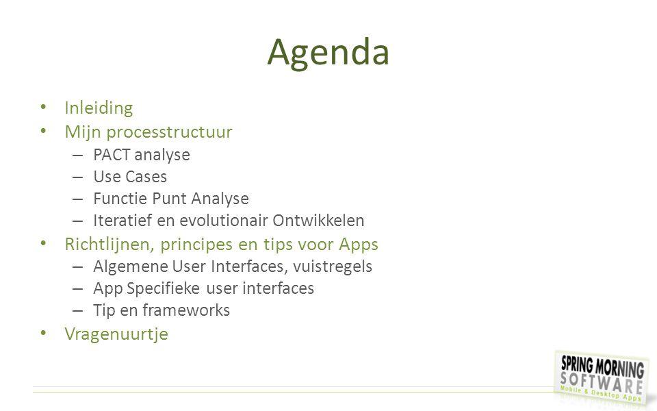 Agenda Inleiding Mijn processtructuur – PACT analyse – Use Cases – Functie Punt Analyse – Iteratief en evolutionair Ontwikkelen Richtlijnen, principes